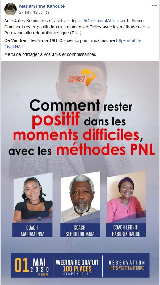 """Webinar sur: """"Comment rester positif dans les moments difficiles avec les méthodes de la PNL"""""""