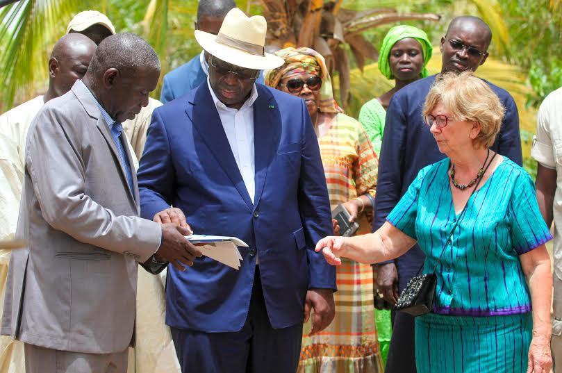 Le président Macky Sall en visite à la ferme en 2015